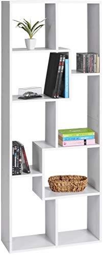 ts-ideen Libreria Mensoliera Scaffale 160x60 cm Bianca con 8 vani di diverse forme