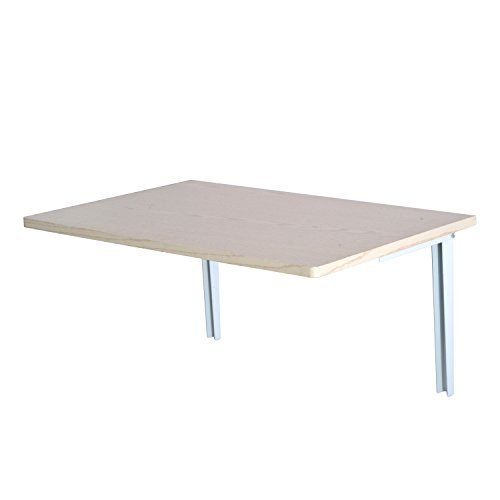 Mesa Plegable de Pared para Cocina y Comedor 60x40x1,5cm Mesa Auxiliar Color Blanco/Madera (Madera)…