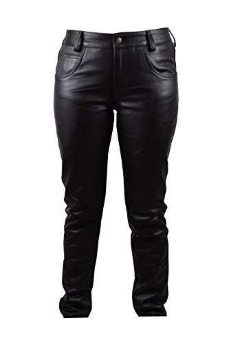 Zerimar Pantaloni Uomo | Pantaloni Uomo Eleganti | Pantaloni Uomo Pelle | Pantaloni Pelle Uomo Larghi | Abbigliamento Maschile Elegante | Colore Nero Taglia 40