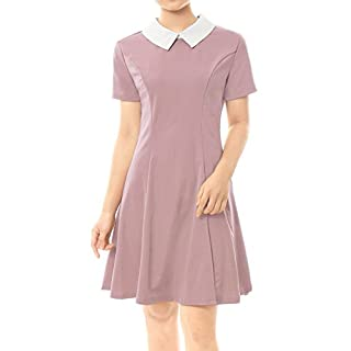 Allegra K Women's Contrast Doll Collar Short Sleeves Above Knee Flare Dress Pink L (UK 16)