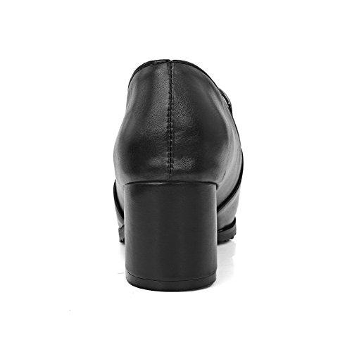 AllhqFashion Femme Élastique Pointu à Talon Correct Pu Cuir Couleur Unie Chaussures Légeres Noir