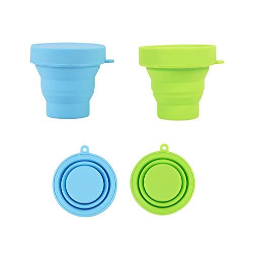 Losuya 2 stücke Faltbare Silikon Tasse Outdoor Reise Camping Tasse Faltbare Lagerung Sterilisierbecher Mond Tasse, Blau + Grün