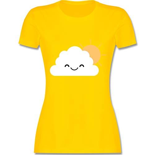 Kinder Kostüm Sonne - Karneval & Fasching - Wolke Karneval Kostüm - M - Gelb - L191 - Damen Tshirt und Frauen T-Shirt