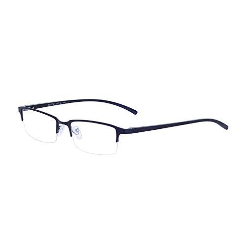 JoXiGo Computerbrille Ohne Stärke Blaulichtfilter für Herren Metall Rechteckig Halbrahmen Brillenfassungen Auswechselbar Klare Linse mit Brillenetuis