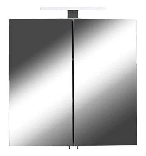 CAVADORE 86137 Spiegelschrank SHARPCUT/Eleganter Badezimmerschrank mit Spiegel 60 cm/mit Warmton LED-Beleuchtung & Steckdose/Weiß/Soft Close Funktion und integrierte Steckdose/60x60x20 cm (BxTxH)