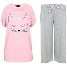 Vacaciones suitcase-señora TALLA GRANDE 18-32 GB Pijama Rosa Gris gatito cat