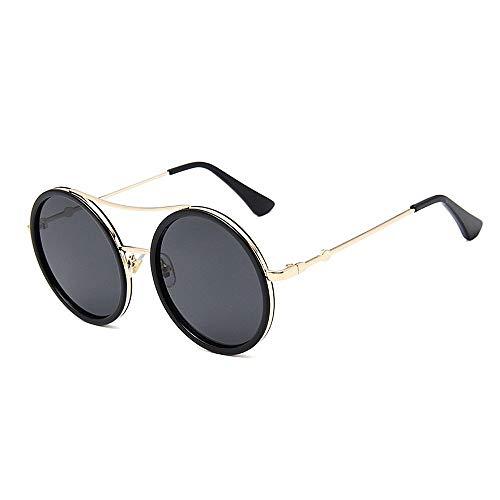 XHCP Frauen Klassische Sonnenbrille Persönlichkeit Red \u0026 Green Frame Lady 's Sonnenbrille Runde Sonnenbrille Für Frauen UV-Schutz Für Fahren Reisen (Farbe: Schwarz)