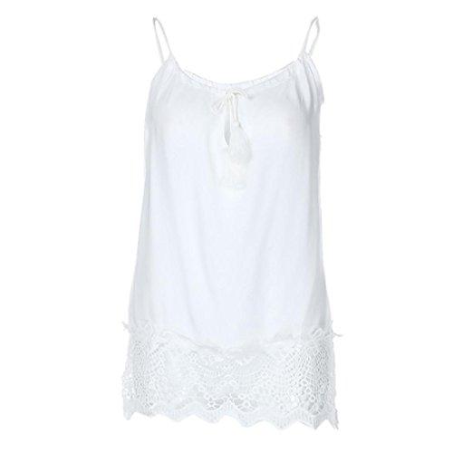 OSYARD Damen Spitze Patchwork Sleeveless Weste Tank Cami Bluse Pullover Tops Shirt(EU 52/XL, Weiß) (Gerippte Tunika Pullover)
