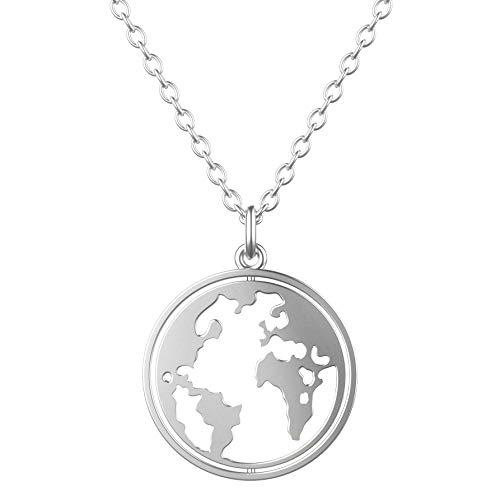 CHAMOON ® Kette Weltkarte aus 925 Sterling Silber für Damen mit Drehbarem Weltkugel-Anhänger (Länge 45 cm)