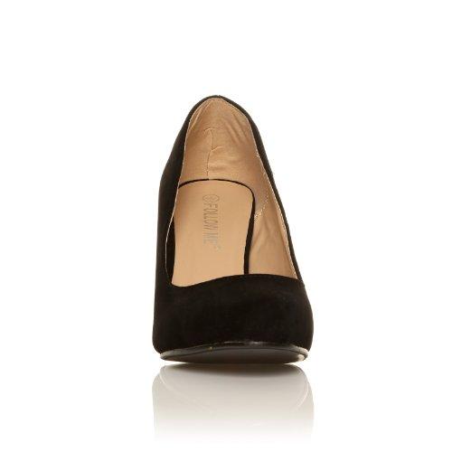 Scarpe con Tacco a Stiletto Alto Decollete Classiche, Finto Camoscio Nero, PEARL Camoscio Nero