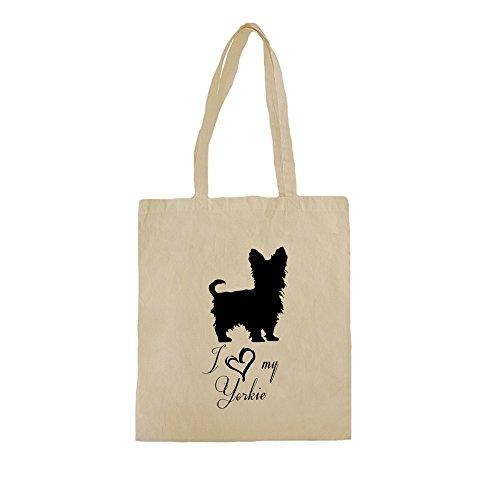 Borse Shopper Cotone con I Love My Yorkie Dog Breed Illustration stampare. 38cm x 42cm, 10 litri, Natural