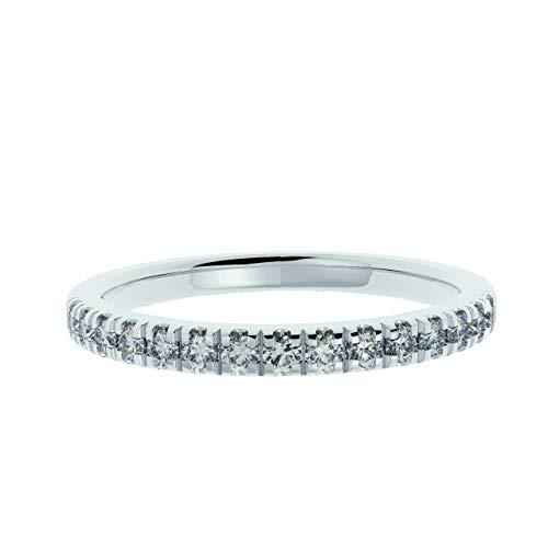 Buyfinediamonds.com 1/4Ct Round Diamond Micro Pave Set Half Eternity Ring,1.7 grams 9k White Gold (Q)
