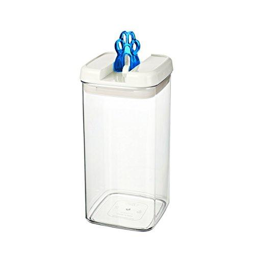 bremermann® Dispensador de pienso con tapa para olores y decoración de zarpa (2,4 litros, azul, disponible en más tamaños)