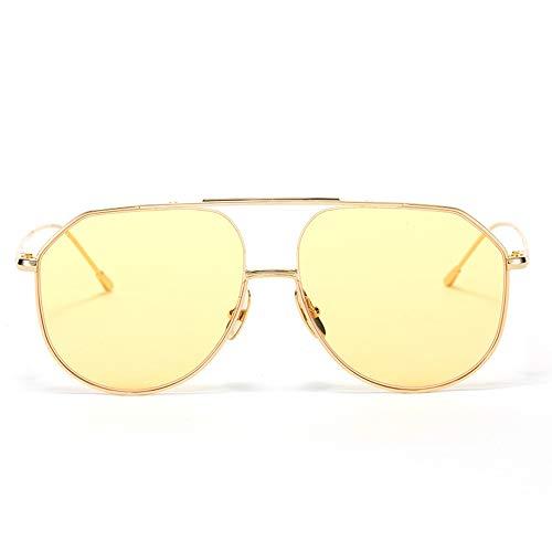 DelongKe Retro Sonnenbrille Rund,Klassisch Oval Ultraleicht Vintage Half Rim Metallgläser Ideal Zum Autofahren Städtetouren,goldtea