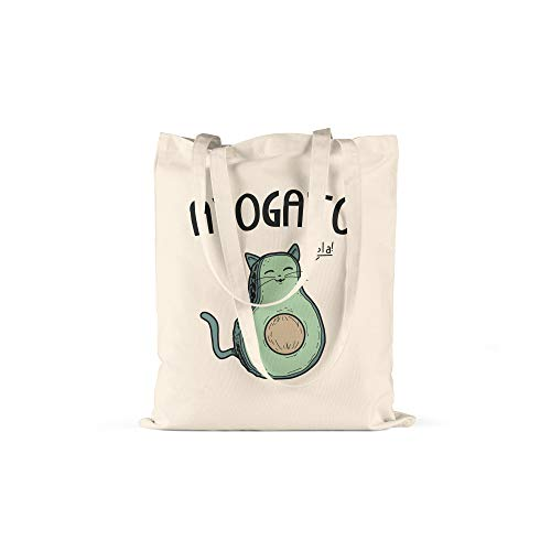 druckt Avogato Print in Natur Baumwolltasche mit Langen Henkeln Beutel Avocado, Katze Druck Ökologisch & Nachhaltig Tragetasche 100% Baumwolle ()