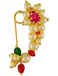 GirlZ! Traditional Maharashrian (Non Pierced) Nath Nose Ring Pink Colour Stone Along With Pearl Beads For Women - Small Size
