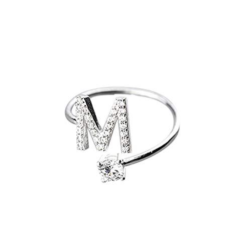 Floweworld Mode Einfache Ring Damen Ajustable Open Ring 26 Buchstaben Mit Diamant Ring Damen Schmuck Zubehör Geschenk - Für Ring Diamanten Frauen