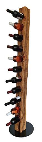 Wood & Wishes - Rustikaler Weinständer, Weinregal, Weinhalter aus Massivholz; gefertigt in Handarbeit für 11 Flaschen Wein; dekoratives Unikat; Höhe 158 cm Ø 34 cm; Treibholzoptik; Landhausstil