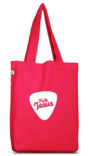 Shirtstreet24, Pick Jesus, christlicher Jutebeutel Stoff Tasche Earth Positive (ONE SIZE) Hot Pink