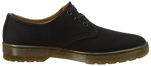 Dr. Martens Delray Twill Canvas Black, Scarpe Stringate Derby Uomo Nero