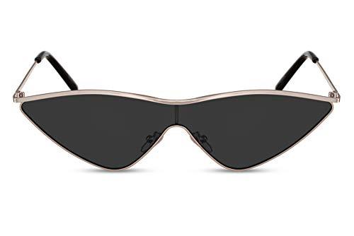 Cheapass Damen-Sonnenbrille Schwarz Cat-Eye Katzenauge Schmal-e Designer-Brille Plastik Frauen