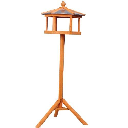 Mangeoire sur pied nichoir a plateau station a oiseau bois pour exterieur 113cm 06