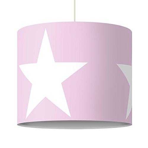 Bilderwelten Pendelleuchte Große Weiße Sterne auf Rosa Lampe Flur Wohnzimmer Rosa 34 x 40cm