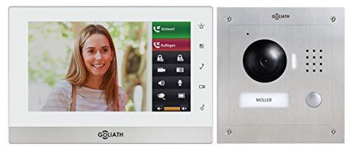 Preisvergleich Produktbild Goliath IP Video-Türsprechanlage mit Kamera, Unterputz HD Türstation 150°, Edelstahl, App mit Türöffner Funktion, 7 Zoll Touchscreen, 32GB Video-Speicher, 1 Familienhaus Set