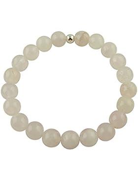 Sunsara Traumsteinshop Rosenquarz Armband Edelstein Kugeln (Perlen) 8 mm und 925er Silberkugel Heilsteinarmband...