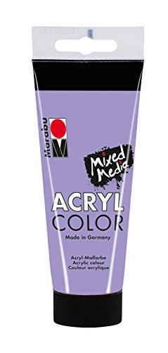 Marabu 12010050007 - Acryl Color, cremige Acrylfarbe auf Wasserbasis, schnell trocknend, lichtecht, wasserfest, zum Auftragen mit Pinsel und Schwamm auf Leinwand, Papier und Holz, 100 ml, lavendel