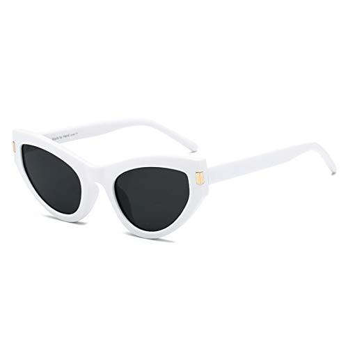 UICICI Polarisierte Cat Eye Sonnenbrillen für Damen Sonnenbrillen Ladies Shades (Farbe : White Frame Black Gray Piece)