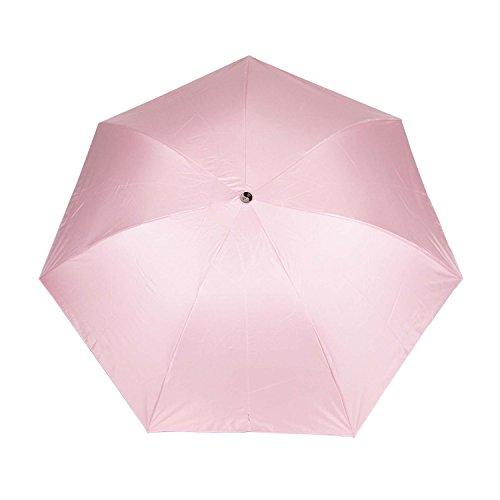 LUMB Ombrello 3 Paragrafo ombrello pieghevole Rosa UV 50 + ombrellone solido colore all'interno della Stampato modello di stella Umbrella