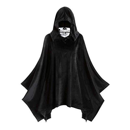 Professionelle Burlesque Kostüm - YueLove Damen Halloween Vintage Kostüm Schädel Maske Einfarbig Mittelalter Mantel Große Größen Renaissance Cosplay Blouses Tops mit Kapuze