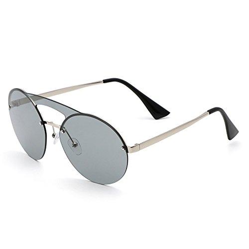 dc39e5f4a2 VVIIYJ Gafas de Sol Redondas Gafas de Sol de protección UV Femeninas Gafas  de Cara Larga Ojos Decorados,Marco de Plata Ceniza