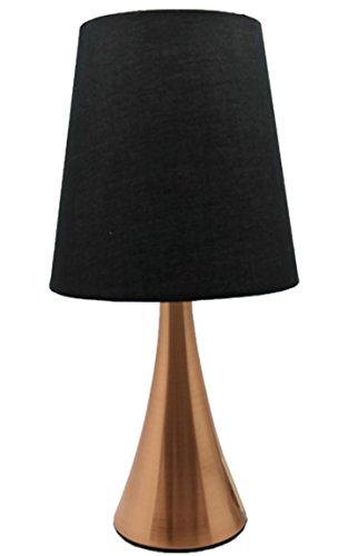 Bada Bing Tischleuchte Kupfer Schwarz Touch Leuchte Stehlampe Mit Schirm Ca. 34,5 Cm Lampe Mit 3 Helligkeitsstufen Lampenschirm Edel 18