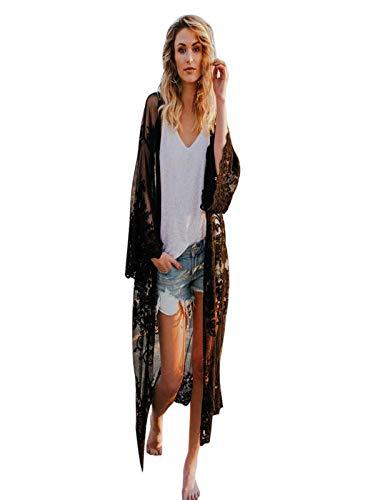 Strickjacke Damen, GJKK Lose Anti-UV Strickjacke Spitze Hohl Lang Shirt Bluse Bohemian Strand Kimono übergroße Kimono Cardigan Jacke Top Cover up -