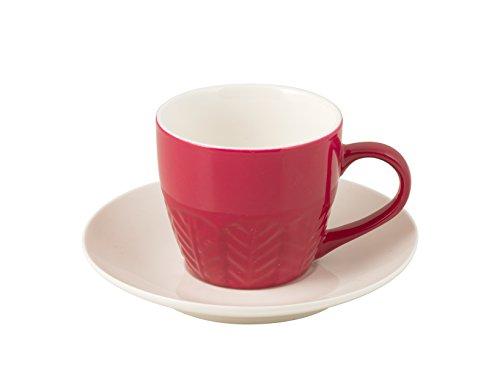 H+H Set Kaffeetassen mit Teller, Bone China, Fuchsia, 130 ml, 6 Stück Fuchsia Bone China