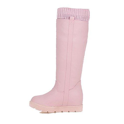 AgooLar Damen Hoher Absatz Hoch-Spitze Rein Ziehen auf Stiefel, Pink, 38