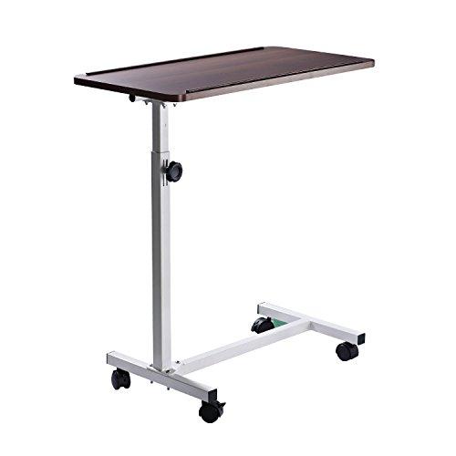 Homcom Mehrzweck Mobiler Betttisch Stuhl Tisch Sofa Seite Notebook Laptop Schreibtisch PC Ständer höhenverstellbar mit abschließbaren 4Rollen & Holz Top