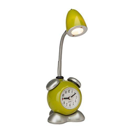 Brilliant G94837/04 Pharrell LED Tischleuchte mit Wecker und Druckschalter, 1-flammig, 1,5W LED, 90 lm, 3000 K, Metall/Kunststoff, grün/warmweiß