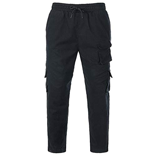 SOMESUN Uomo Tinta Unita Tasca Tuta da Lavoro Casuale Sport Lavoro Pantaloni Casual Slim Fit Skinny Stretti alla Caviglia Elasticizzati Larghi Elegante Sportivo Invernali Utility (Nero-2, M)