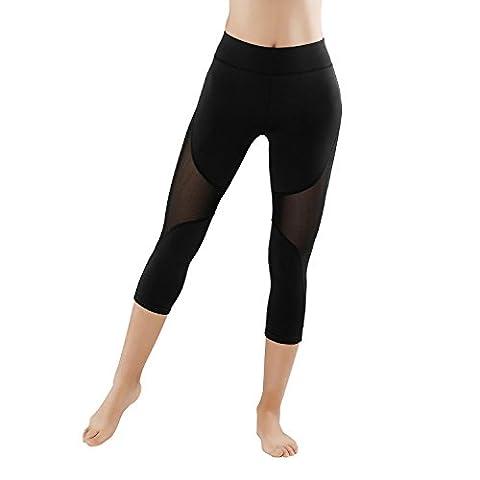 GoVIA Leggings Damen Mesh Laufhose Luftdurchlässiges Textil-Netzgewerbe Sporthose Fitness Yoga Kurz 4135K Gr. L/XL