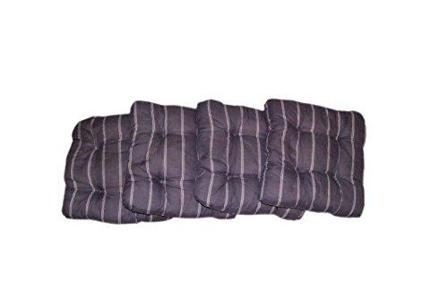 4er Set Sitzkissen Stuhlkissen Dekokissen | sehr bequem - besonders komfortabel | 40x40x8cm | lila - dunkelgrün (Lila mit Streifen)