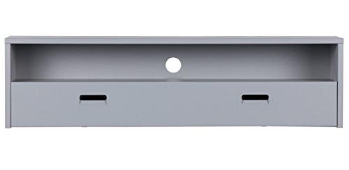 Meuble TV en bois coloris gris béton - Dim : H 40 x L 150 x P 35 cm - PEGANE -