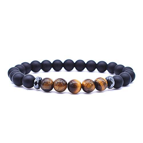 Armband Armreif,Schmuck Geschenk, New Animal Lion Head Bracelet Hematite Spacer Beads with 8Mm Natural Stone Beads Bracelet Men Health Jewelry Pulseira Masculina 808 21cm