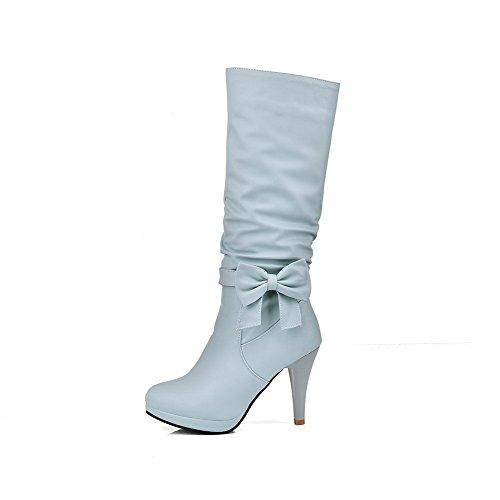 AllhqFashion Femme Zip Rond Stylet Pu Cuir Haut Demi Bottes avec Nœuds à Deux Boucles Bleu