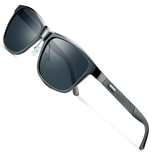 wearpro Sonnenbrille Herren Polarisierte Fahren Brillen Polarisierte Sonnenbrille Damen Al-Mg Metall Rahme Ultra Leicht Sportbrille WP2018 (Grau)