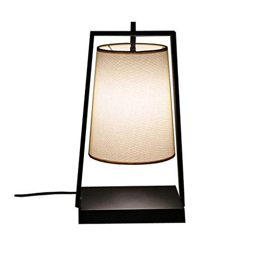 Lampes de table Fer Tissu Salon Salle À Manger Simple Étude Moderne Chambre Lampe De Chevet Éclairage LED (Color : Black, Size : 25 * 20 * 45cm)
