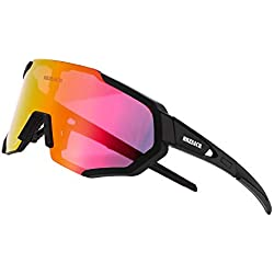 BRZSACR Gafas de Sol Deportivas polarizadas Protección UV400 Gafas de Ciclismo con 3 Lentes Intercambiables para Ciclismo, béisbol, Pesca, esquí, Funcionamiento (Negro 1)