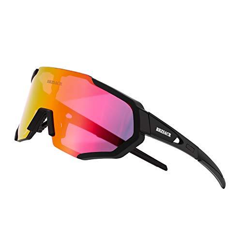 BRZSACR Polarisierte Sport-Sonnenbrille mit austauschbaren Lenes für Männer Frauen Radfahren Laufen Fahren Angeln Golf Baseball Brillen (3-Farben-Wechselobjektiv) (Neues Schwarzes)